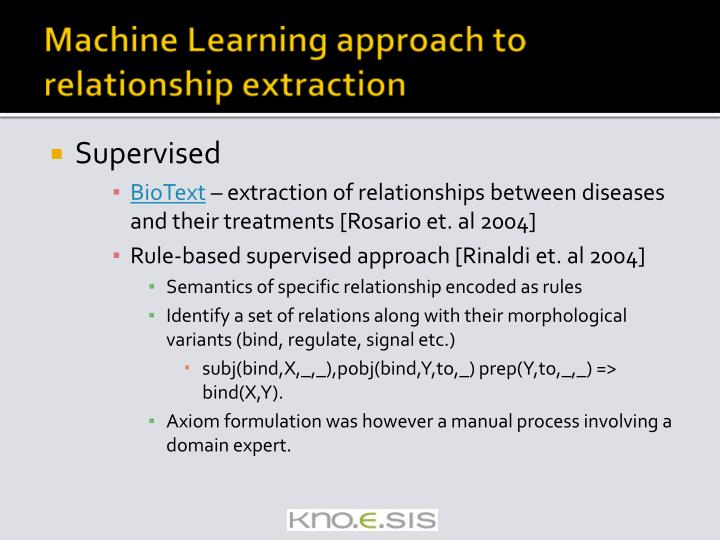 Machine Learning approach to relationship extraction