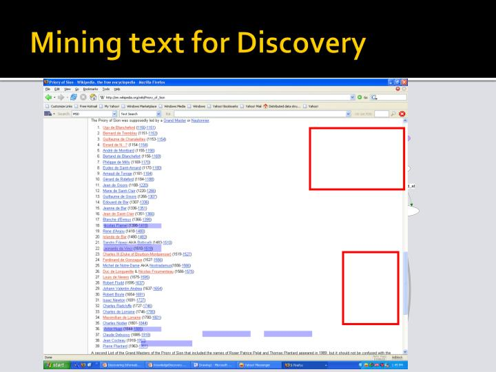 Mining text for Discovery