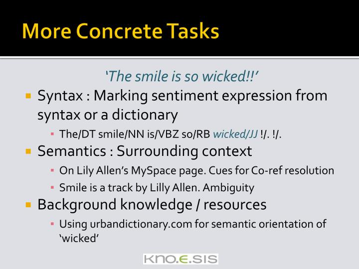 More Concrete Tasks