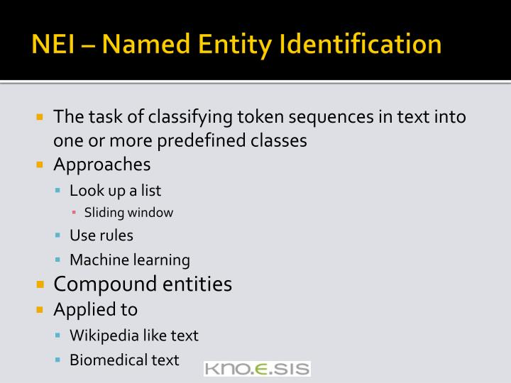 NEI – Named Entity Identification