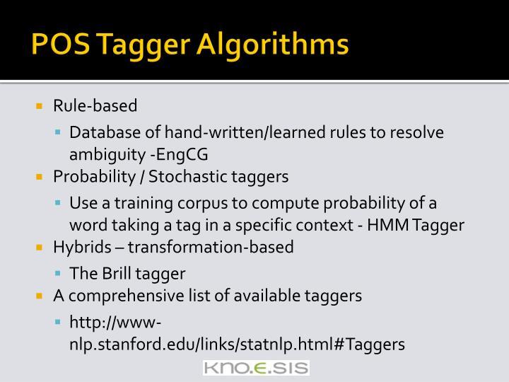 POS Tagger Algorithms