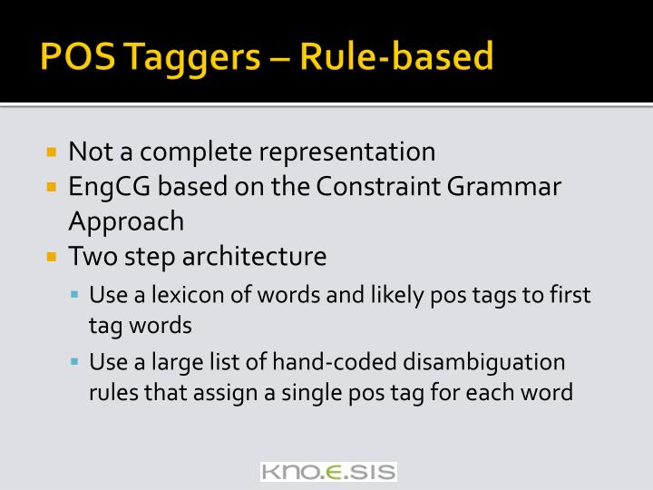 POS Taggers – Rule-based