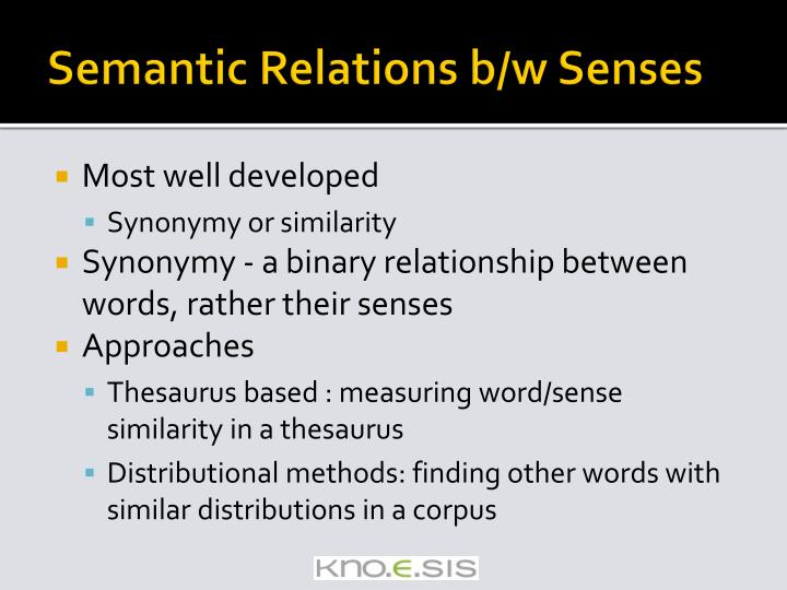 Semantic Relations b/w Senses