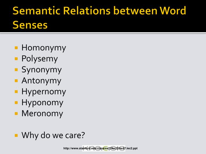 Semantic Relations between Word Senses