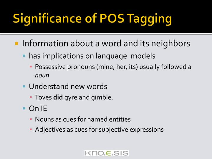 Significance of POS Tagging