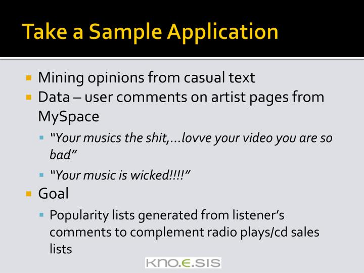 Take a Sample Application