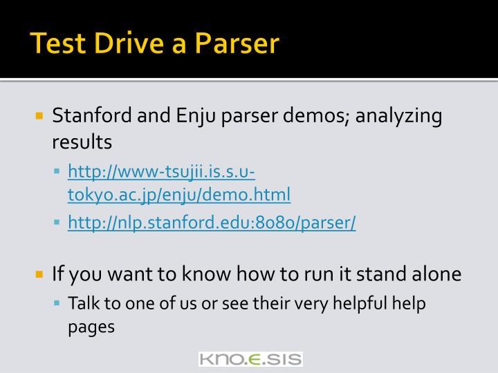 Test Drive a Parser