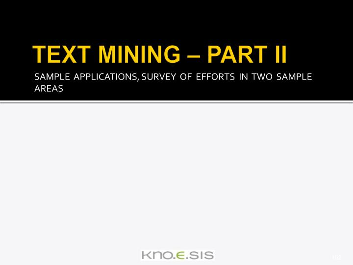 TEXT MINING – PART II