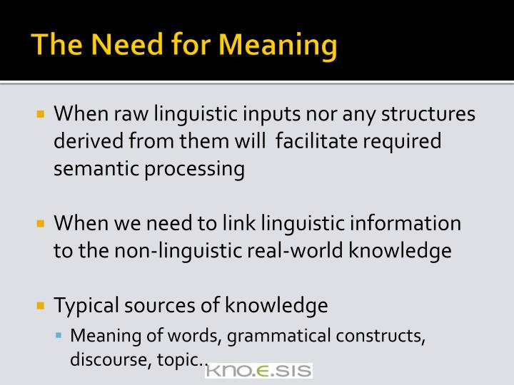 The Need for Meaning