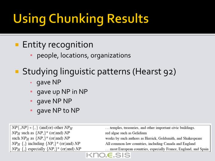 Using Chunking Results