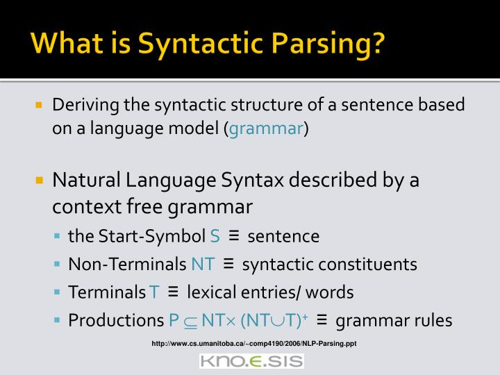 What is Syntactic Parsing?