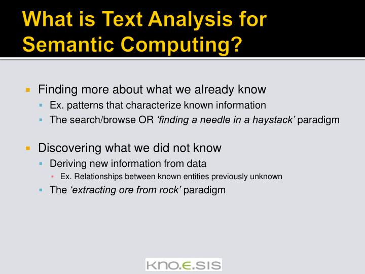What is Text Analysis for Semantic Computing?