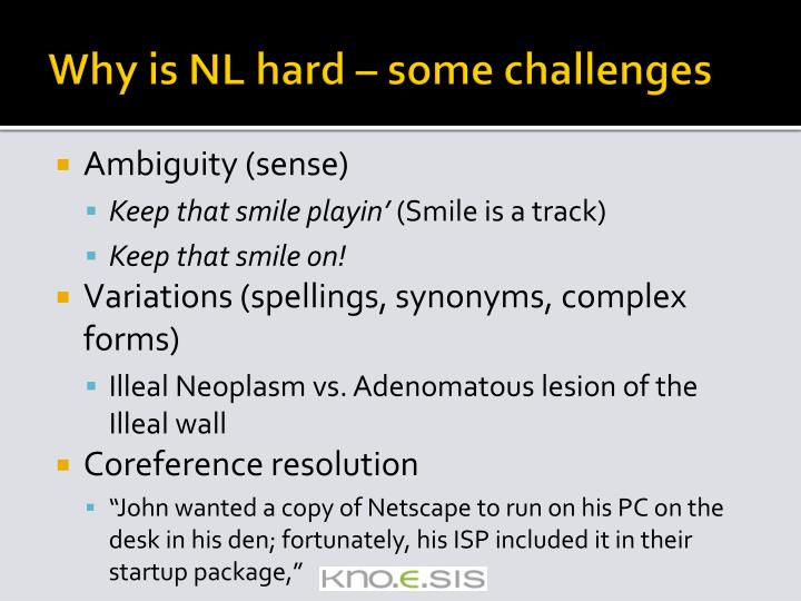 Why is NL hard – some challenges