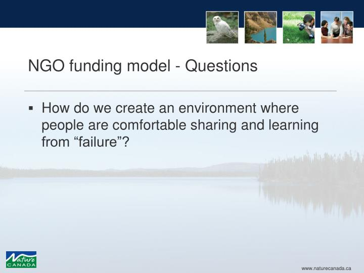 NGO funding model - Questions