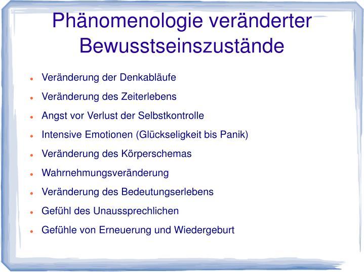 Phänomenologie veränderter