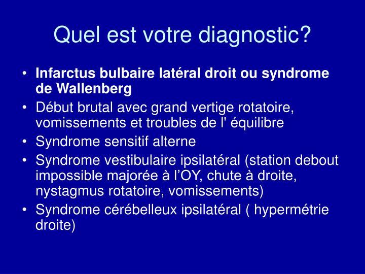Quel est votre diagnostic?