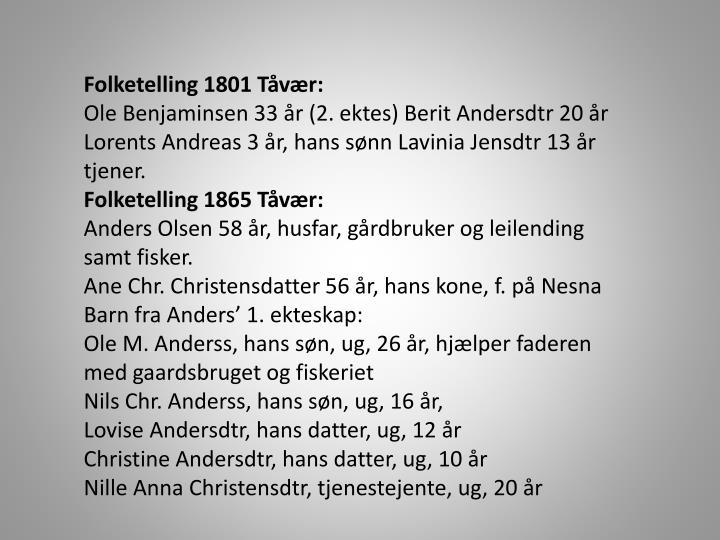 Folketelling 1801 Tåvær: