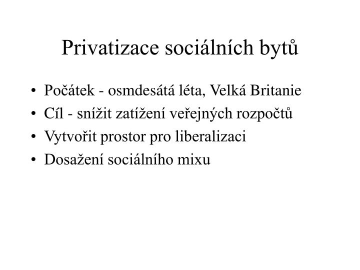 Privatizace sociálních bytů