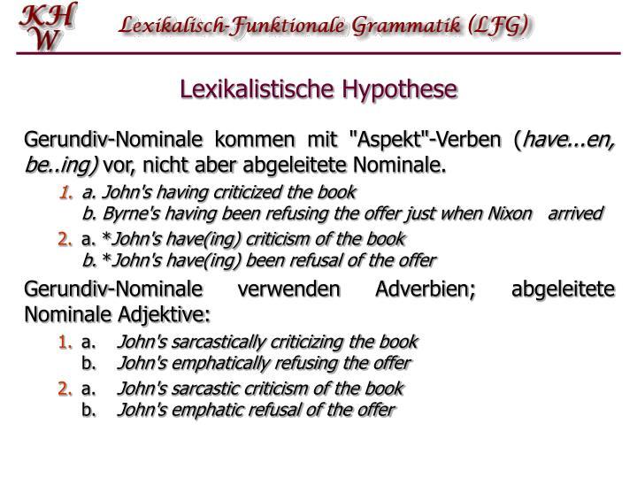 Lexikalistische Hypothese