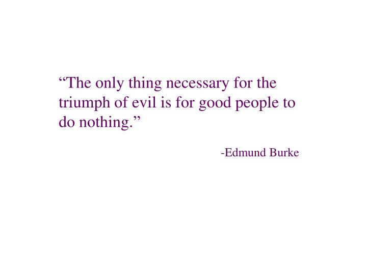 """The only thing necessary for the triumph of evil is for good people to do nothing."""