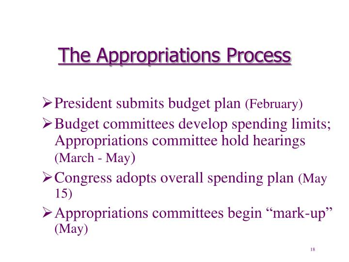 The Appropriations Process
