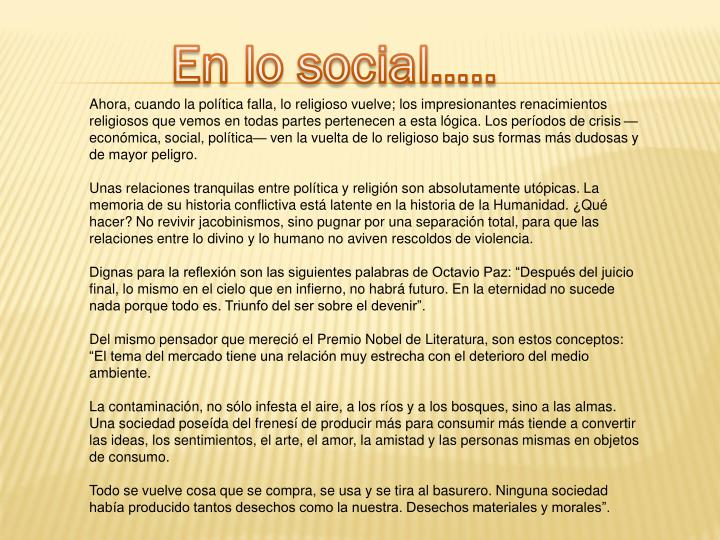 En lo social…..