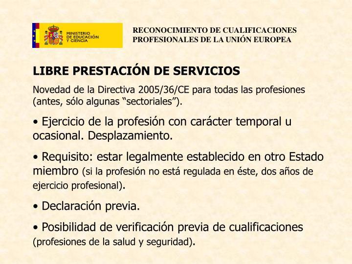 LIBRE PRESTACIÓN DE SERVICIOS