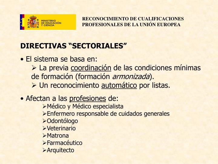 """DIRECTIVAS """"SECTORIALES"""""""