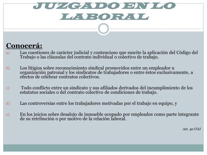 JUZGADO EN LO LABORAL
