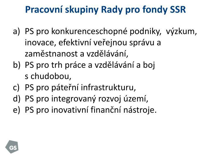 Pracovní skupiny Rady pro fondy SSR