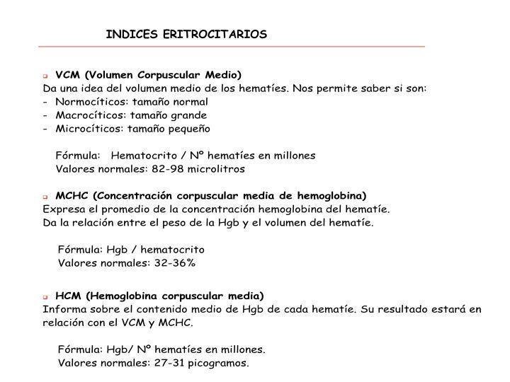 INDICES ERITROCITARIOS