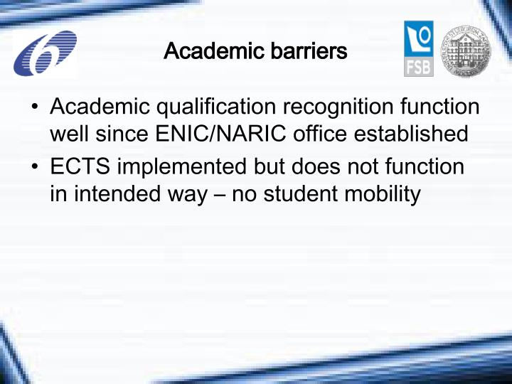 Academic barriers