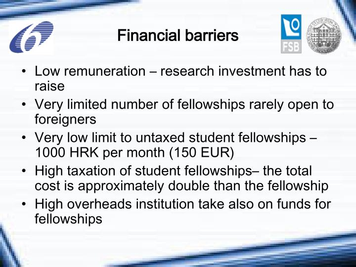 Financial barriers