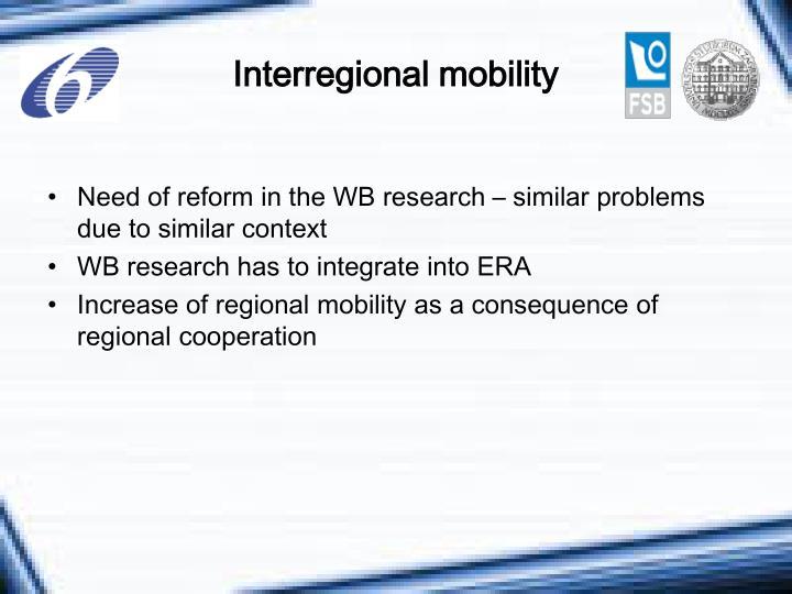 Interregional mobility