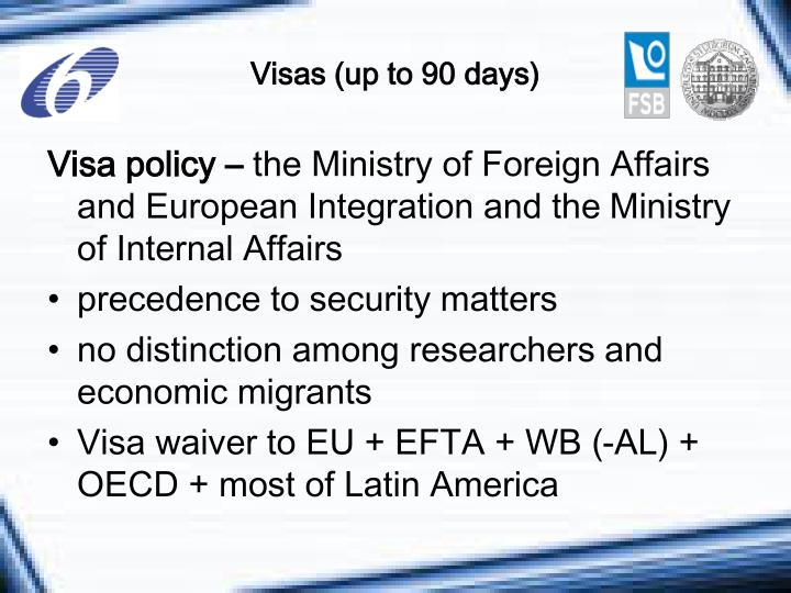Visas (up to 90 days)