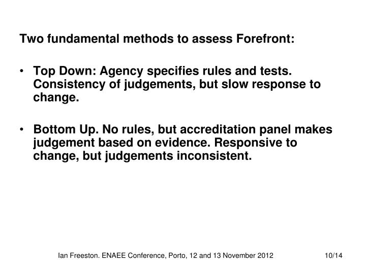 Two fundamental methods to assess Forefront: