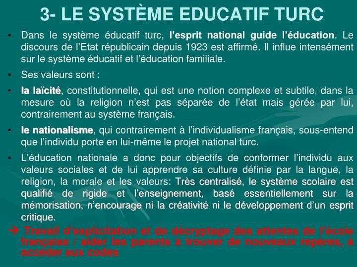3- LE SYSTÈME EDUCATIF TURC