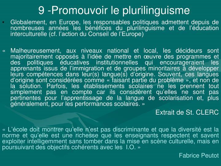 9 -Promouvoir le plurilinguisme