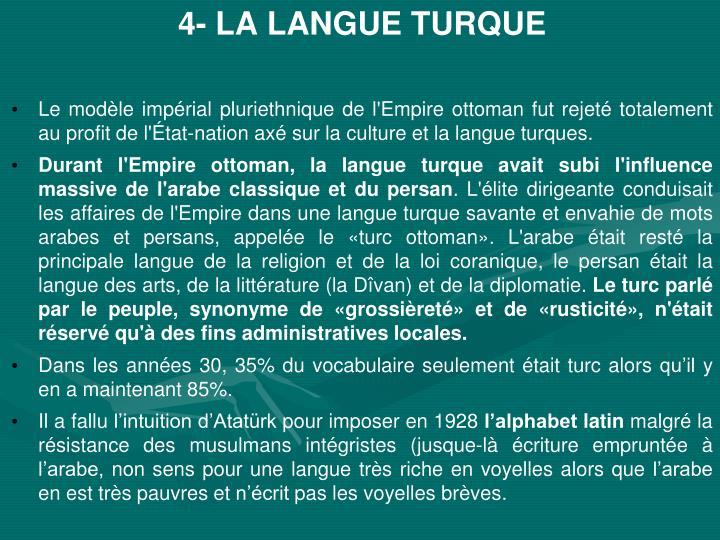 4- LA LANGUE TURQUE