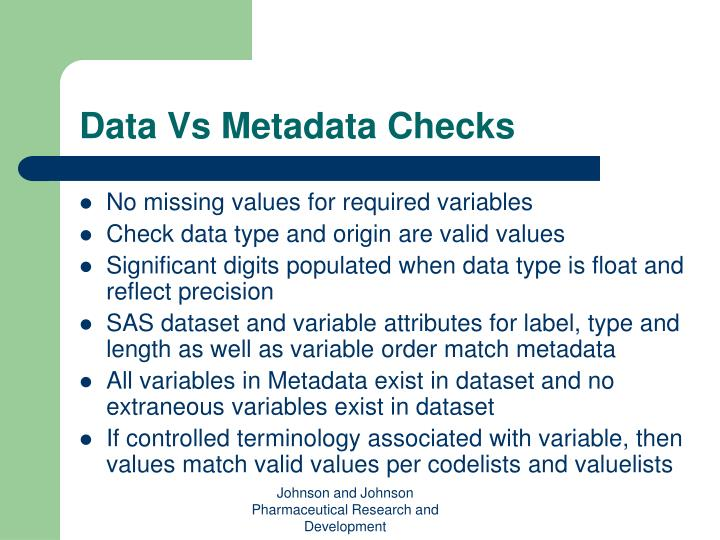 Data Vs Metadata Checks