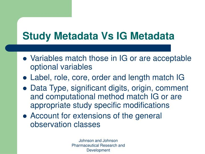 Study Metadata Vs IG Metadata