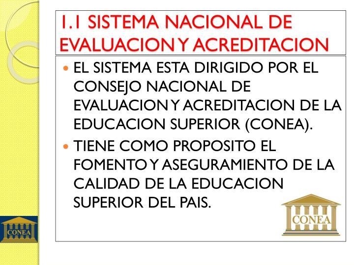 1.1 SISTEMA NACIONAL DE EVALUACION Y ACREDITACION