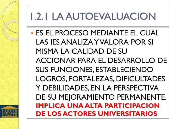 1.2.1 LA AUTOEVALUACION