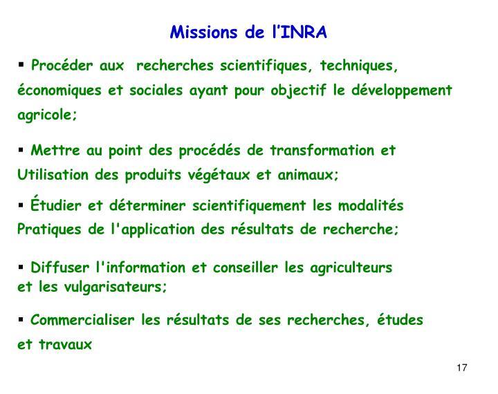 Missions de l'INRA