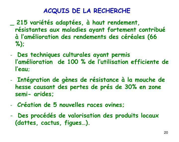 ACQUIS DE LA RECHERCHE