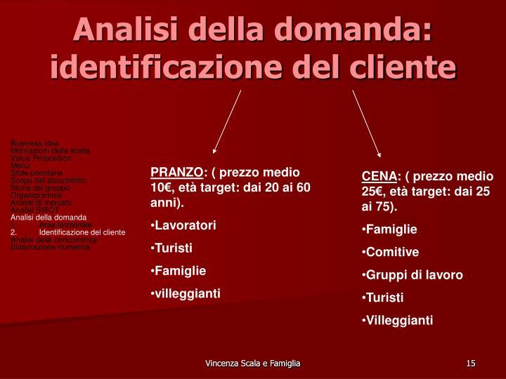 Analisi della domanda: identificazione del cliente