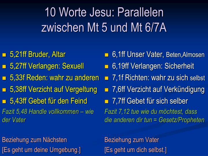 10 Worte Jesu: Parallelen