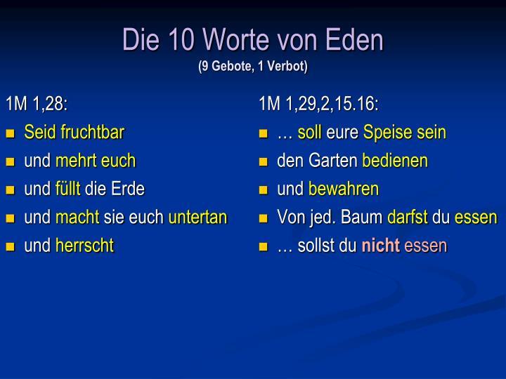 Die 10 Worte von Eden
