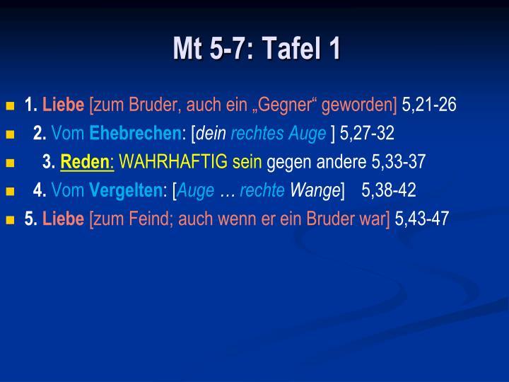 Mt 5-7: Tafel 1