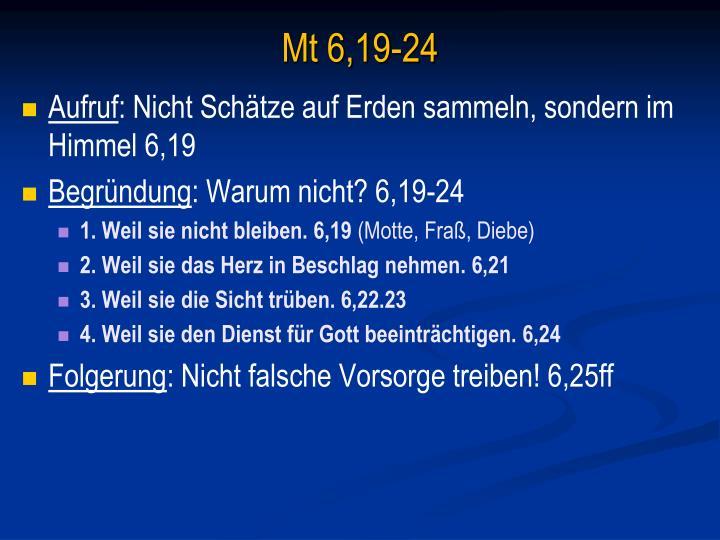 Mt 6,19-24